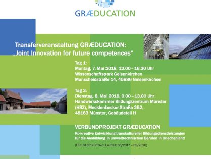 "Transferveranstaltung GRÆDUCATION: ""Joint Innovation for Future Competences"""
